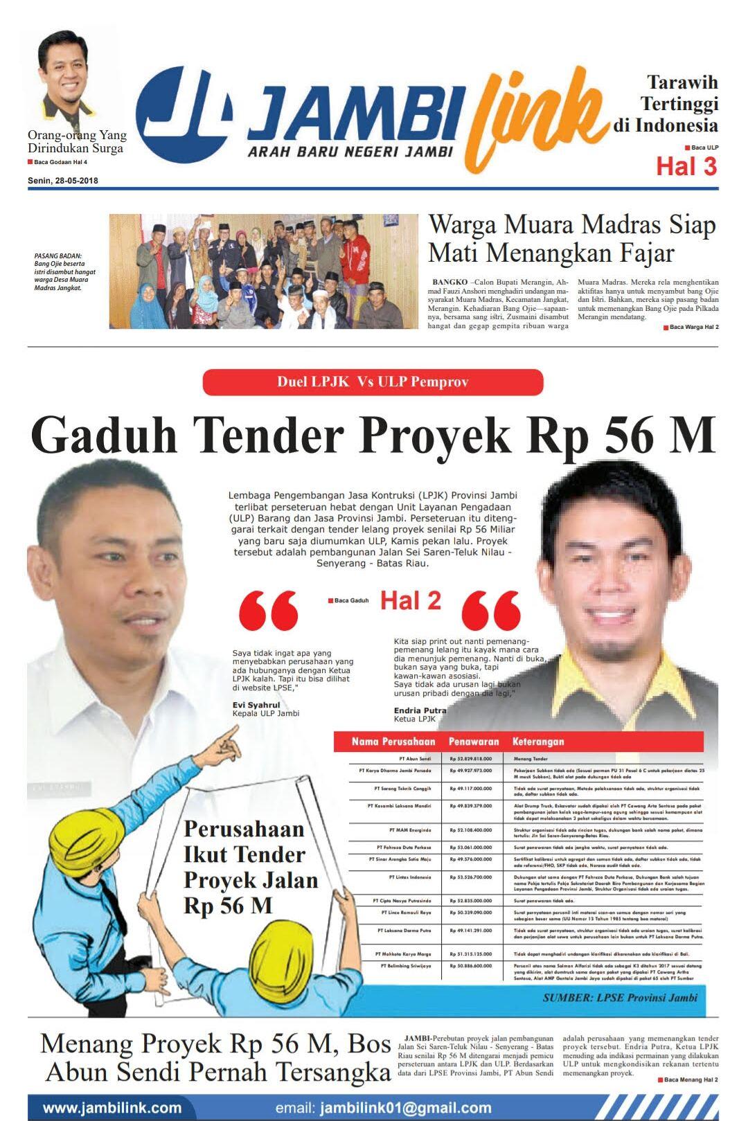 Cover Halaman 1 Jambi Link Edisi 28 Mei 2018