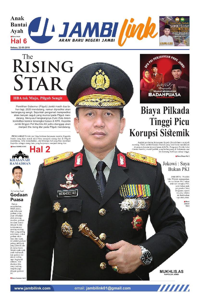 Cover Utama Koran Jambi Link edisi Selasa 22 Mei 2018