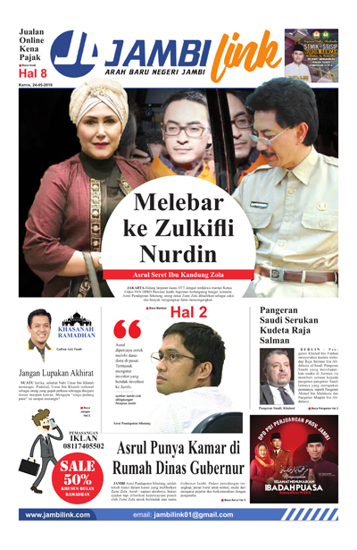 Cover Harian Pagi Jambi Link, 24 Mei 2018