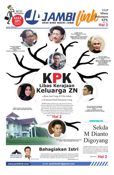 Cover Harian Jambi Link, 25 Mei 2018