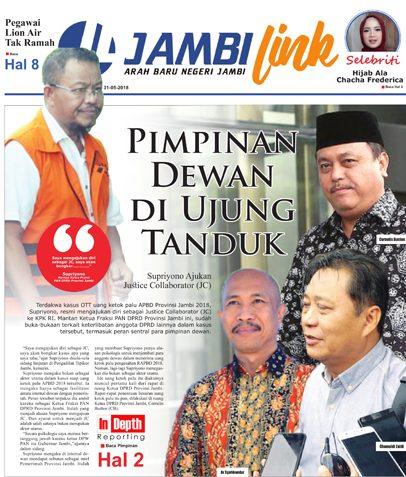 Cover Harian Pagi Jambi Link, 31 Mei 2018