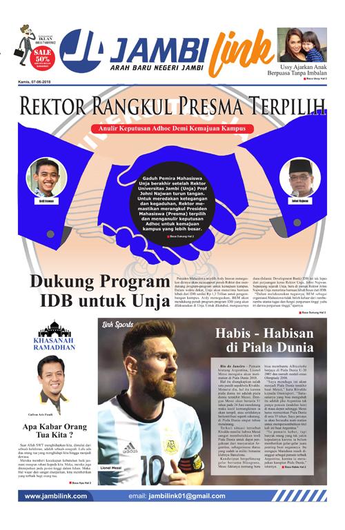 Cover Harian Jambi Link, 7 Juni 2018