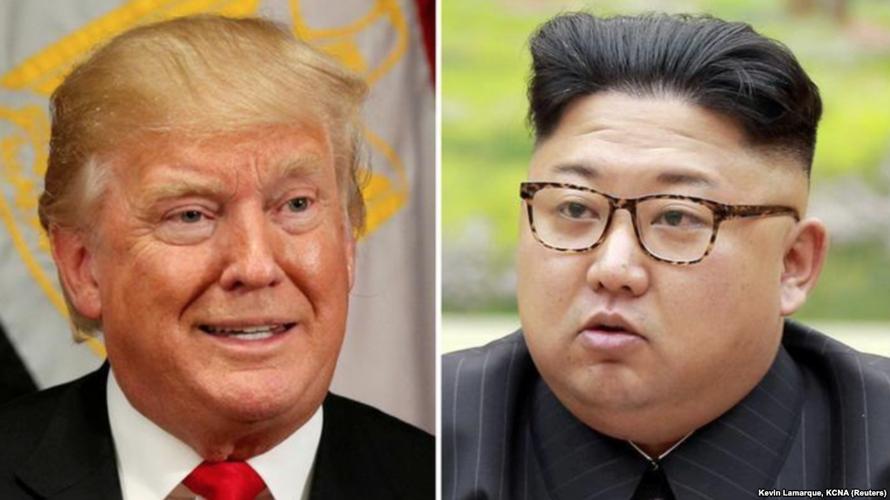 Presiden AS Donald Trump dan pemimpin Korea Utara Kim Jong Un