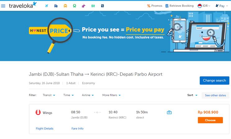 Capture harga tiket pesawat online Traveloka.