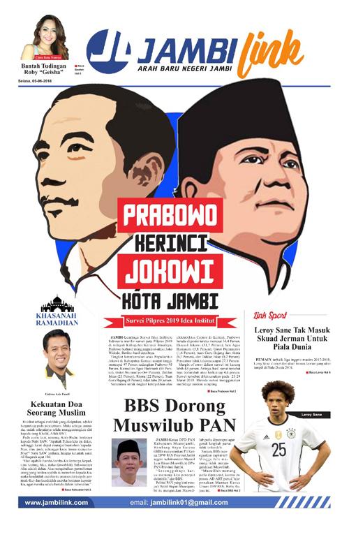 Cover Harian Pagi Jambi Link, 5 Juni 2018