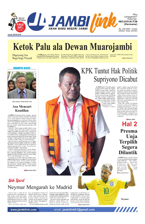 Cover Jambi Link, 8 Juni 2018