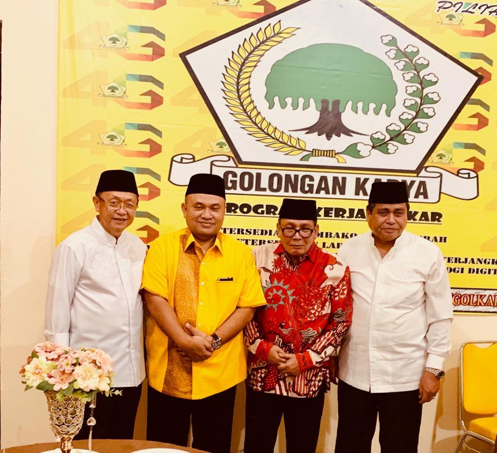Cek Endra tampak akrab bersama HBA dan Plt Ketua DPD I Golkar, Taufik Hidayat