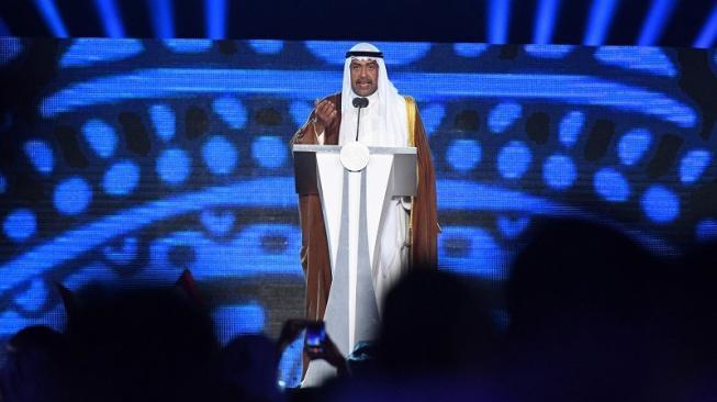 Presiden OCA, Sheikh Ahmed Al-Fahad Al-Sabah berpidato di Upacara Penutupan Asian Games 2018 di Stadion Utama Gelora Bung Karno, Senayan, Jakarta