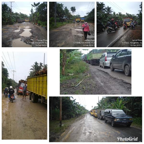 Foto keadaan jalan provinsi Muara Sabak ke Rantau Rasau