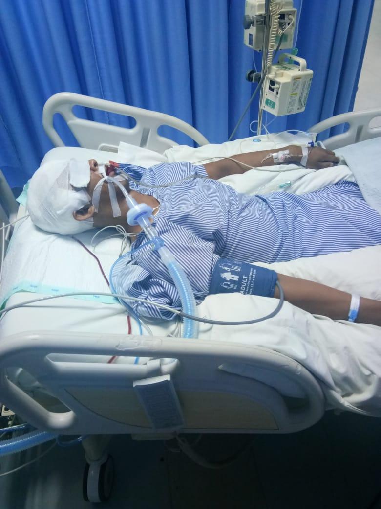 Saiful Ansori ketika koma di Rumah Sakit Siloam