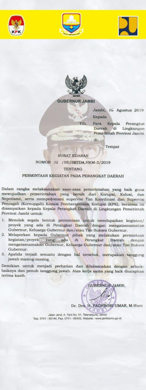 Surat Edaran Gubernur Jambi
