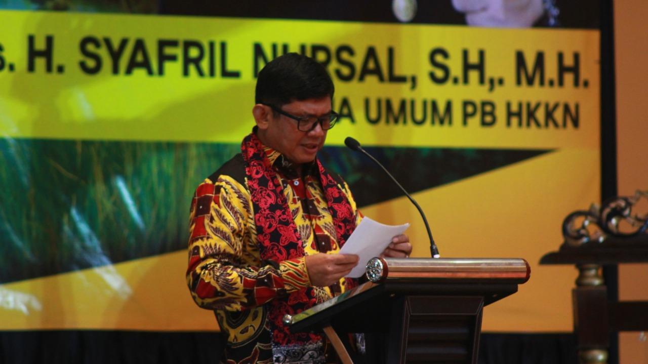 Irjen Pol Drs H Syafril Nursal, SH MH,  Ketua HKKN ketika berpidato di Rakernas HKKN Cibubur.