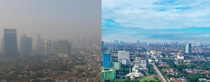 Jajaran Gunung Salak terlihat jelas dari Jakarta