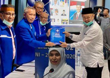 Cek Endra dan Ratu Munawaroh kompak mengenakan pakaian serba putih ketika mendaftar ke PAN.